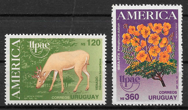 sellos UPAEP Uruguay 1990
