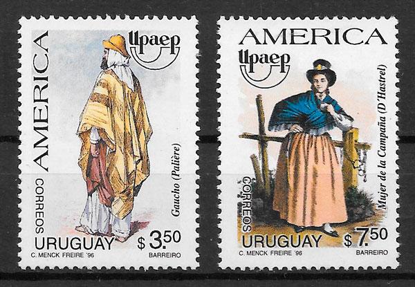 filatelia colección UPAEP Uruguay 1996